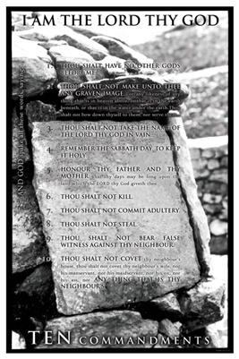24x36 Ten Commandments Religious Unframed Black Art Print