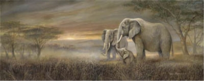 8x20 Elephant Family Gentle Giants Artist Ruane Manning