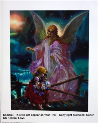 8x10 Inch Guardian Angel Fine Art Print And Poster In