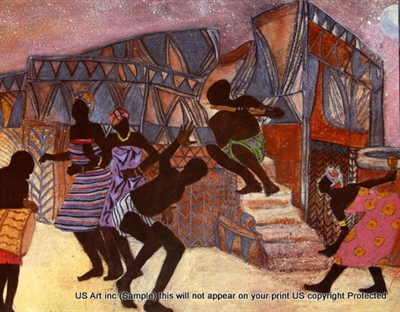 8x10 Inch Night Dancers African American Black Art Print