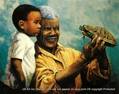 8x10 Inch Grandpa And Grandson African American Black Art